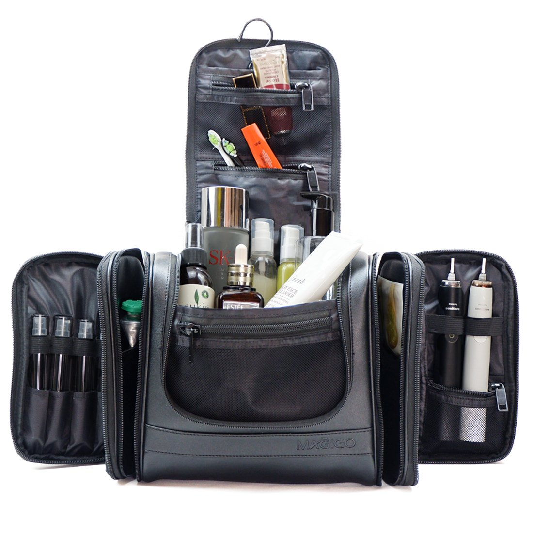 MAGIGO Extra Large PU Leather Hanging Travel Toiletry Bag with Function of Passport Holder and TSA Approved Cosmetic Kits for Men (Black)