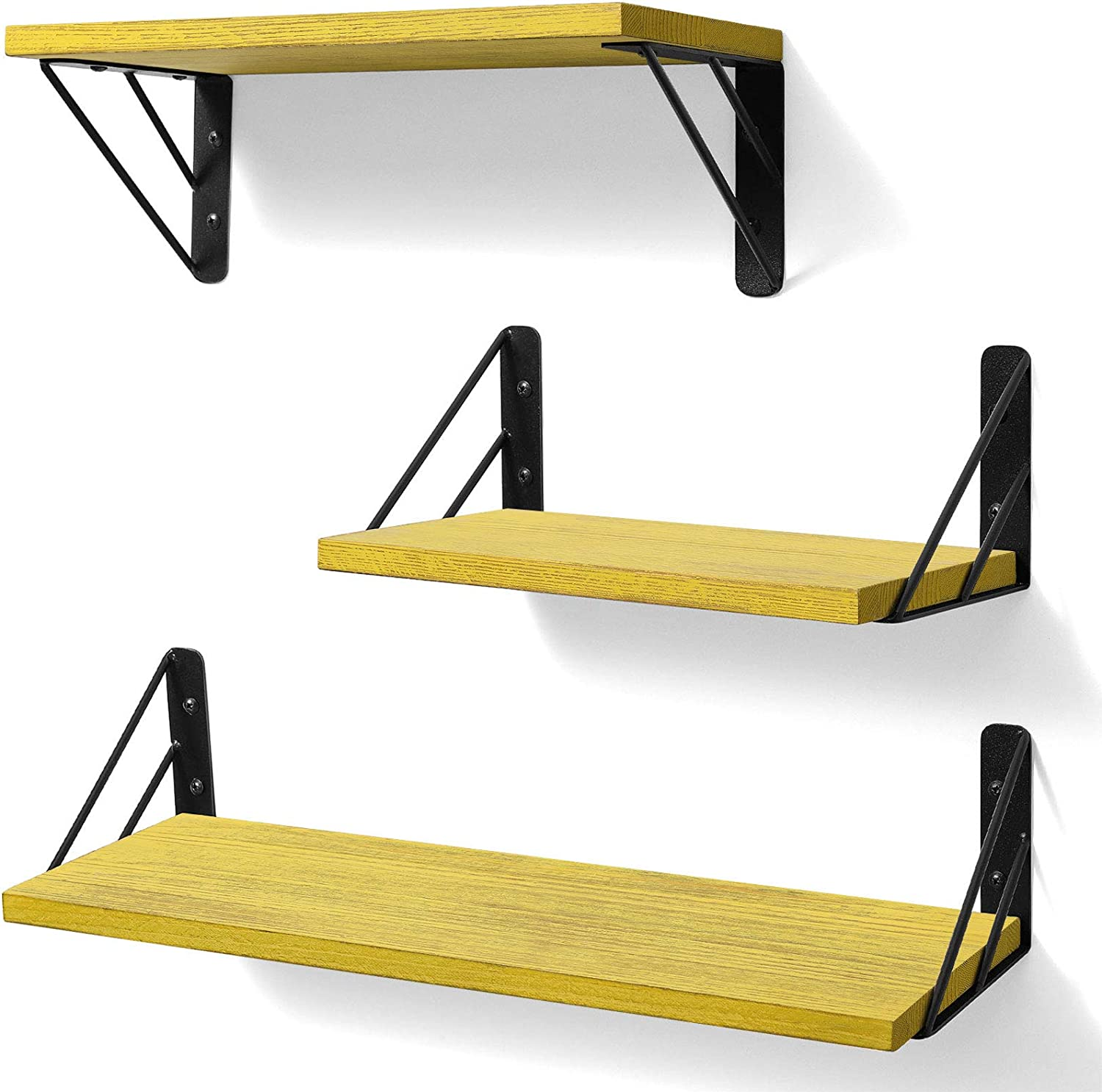 BAYKA Floating Shelves Wall Mounted, Rustic Wood Wall Shelves Decor Set of 3 for Bedroom, Bathroom, Living Room, Kitchen, Office, Laundry Room (Yellow)