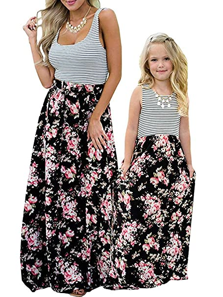 321fa2fb98 Geckatte Mommy and Me Dresses Casual Floral Family Outfits Summer Matching  Maxi Dress