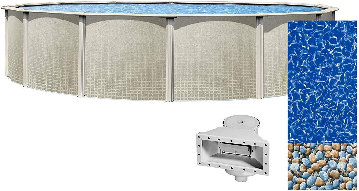 48 Inch Height Bundle with Bedrock Pattern 25 Gauge Overlap Liner and Widemouth Skimmer Lake Effect Impressions 24 Foot Round Above Ground Swimming Pool Resin Protected Steel Sided Walls