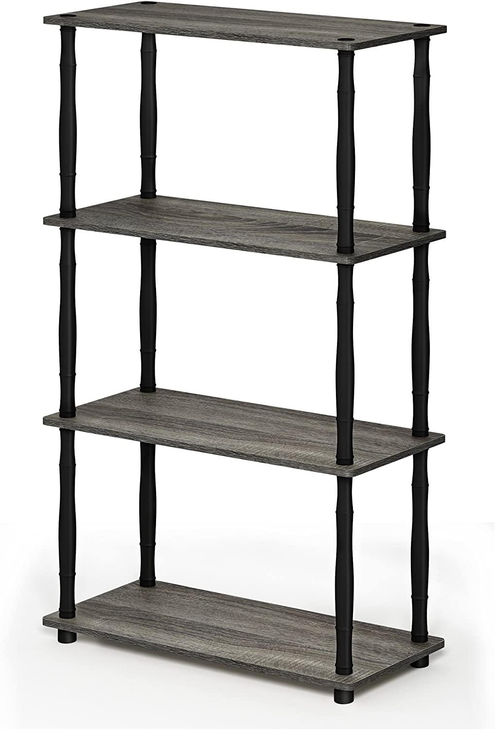FURINNO Turn-N 4-Tier Multipurpose Shelf Display Rack with Classic Tubes, French Oak Grey/Black