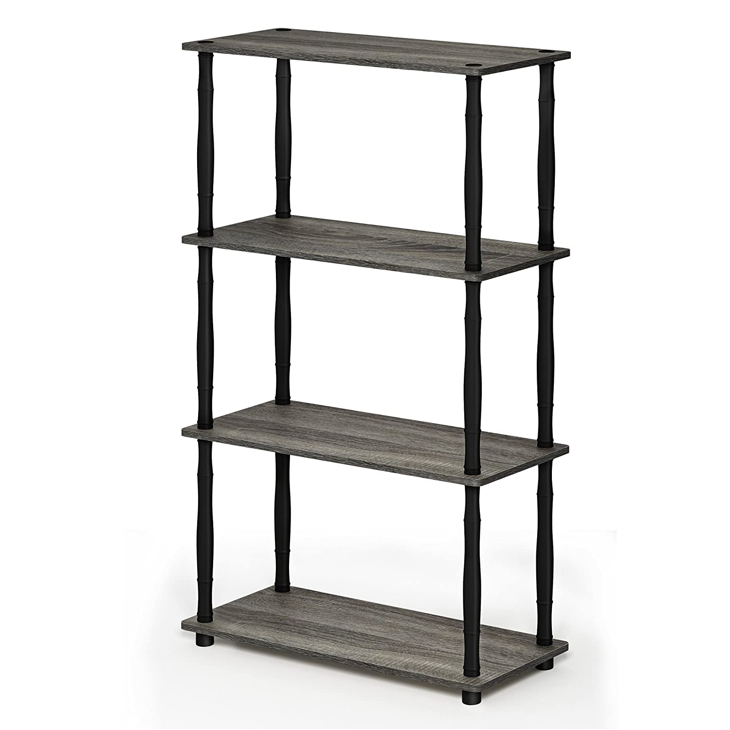French Oak Grey Black 4-Tier Classic Tubes Furinno 17091BE WH Turn-N-Tube 5-Tier Compact Multipurpose Shelf, Single, Beech White