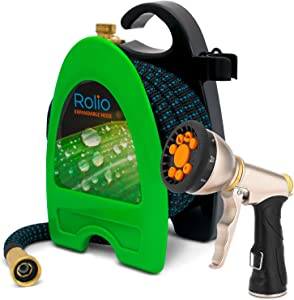Rolio Expandable Garden Hose with Hose Reel - 50 FT Retractable Water Hose with 9 Function Spray Nozzle Included - Flexible Kink Free Hose - 3/4