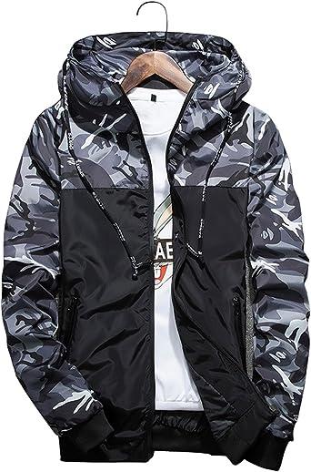 shepretty Homme Veste Camouflage Manches Longues Sweat Shirt Casual à Capuche Coupe Vent