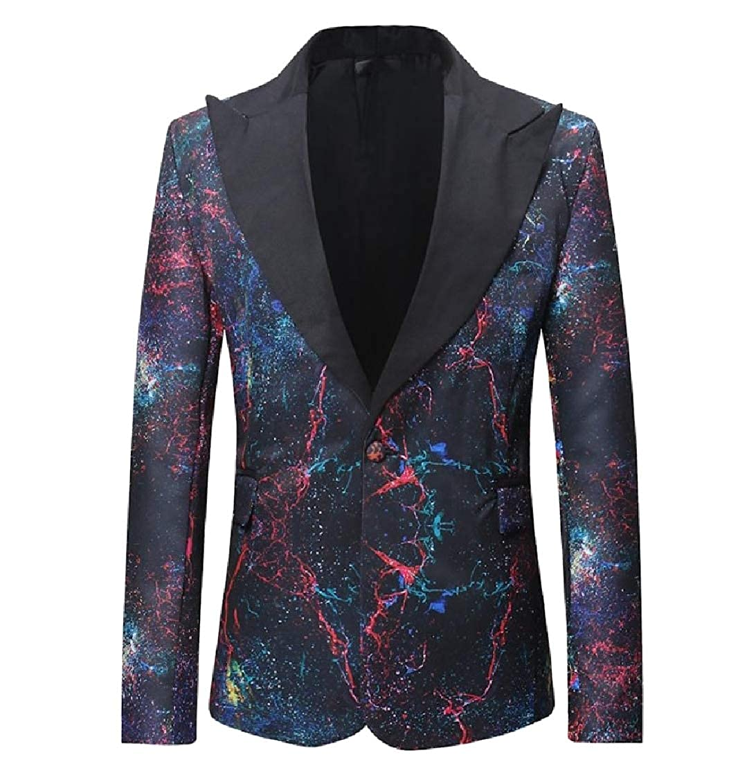 color Yanzi Men Personalized 1 Button Small Small Small Blazer Print Casual Sport Suit Coat 348b66