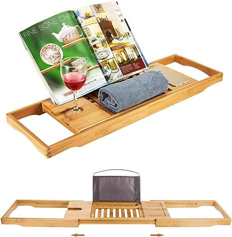 Badewannenbrett WQZF Badewannenablage Aus Bambus Tablett F/ür Badewanne Mit Ausziehbaren Seiten Ablage Badewannenbr/ücke Wannenauflage