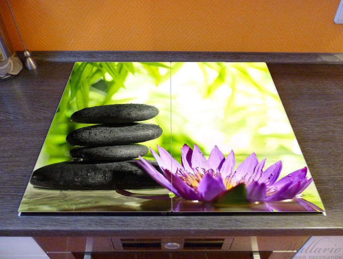 f/ür Ceran- und Induktionsherde 2-teilig Motiv Steinstapel in schwarz mit Blumenbl/üte in lila 80x52cm Wallario Herdabdeckplatte//Spritzschutz aus Glas