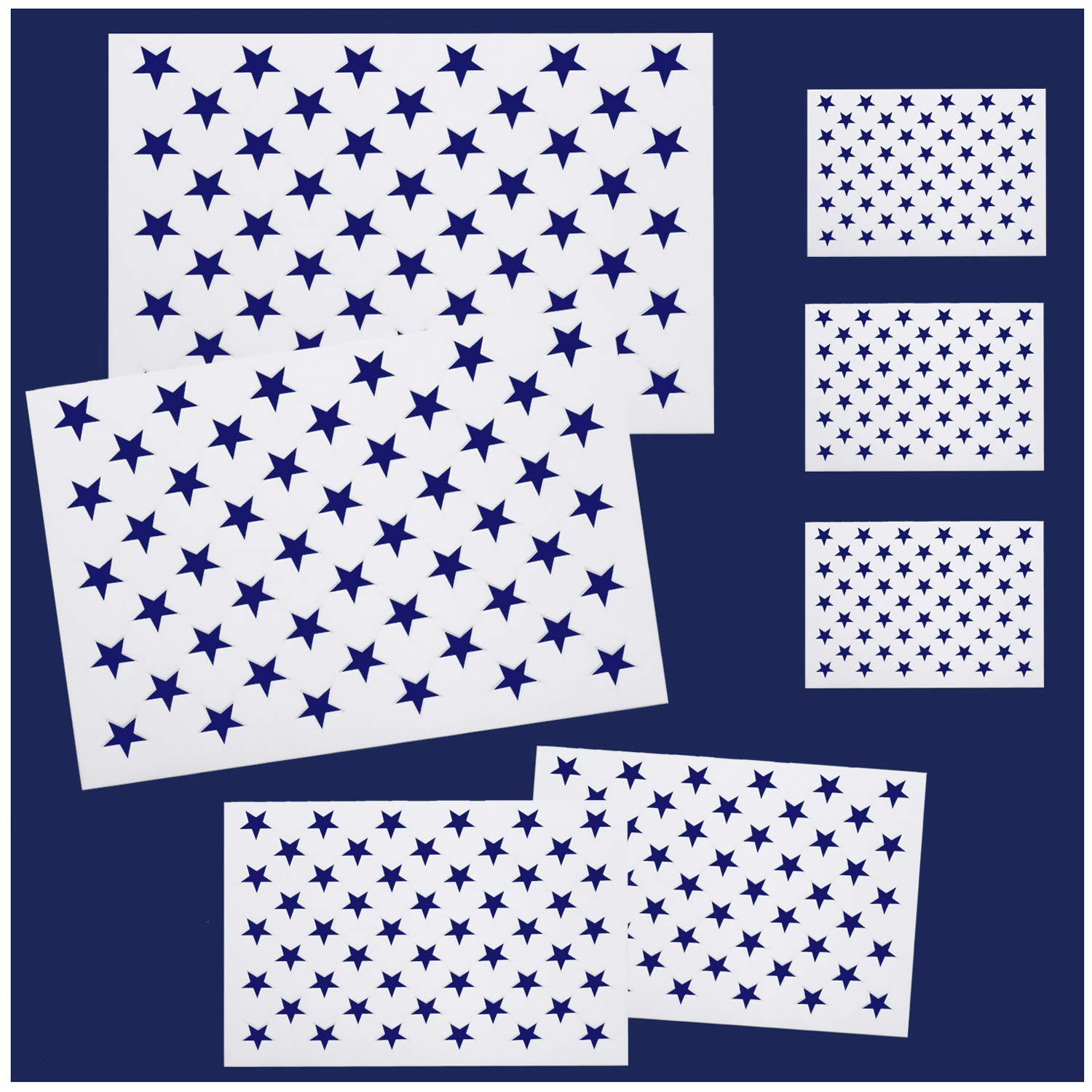 Whaline 7 Pieces American Flag 50 Stars Stencil Template for Painting on Wood, Fabric, Paper, Airbrush, Walls Art, 2 Large, 2 Medium and 3 Small