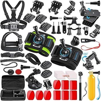 SmilePowo 51 in 1 Sport Camera Accessories Kit for GoPro Hero 7 6 5 4 3  Black, Hero 2018, Session Fusion, SJCAN AKASO APEMAN DBPOWER Lightdow  Campark