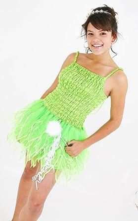 Corto de Campanilla Verde Hada Vestido Uk Tamaño Adulto 8 – 10 ...