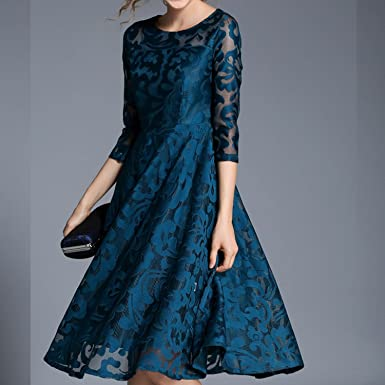 UNIQUE SHOP Autumn Lace Dress Work Casual Slim Fashion O-Neck Sexy Hollow Out Blue