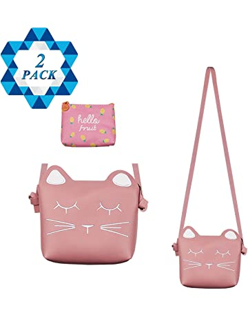 SOTOGO Little Girls Purses Pink Cute Cat Shoulder Crossbody Bag with 1 Pink  Coin Purse for 833f9699ffabb
