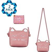 SOTOGO - Bolso Bandolera para niñas, diseño de Gato, Color Rosa, 1 Cartera de Color Rosa, para niños y niñas