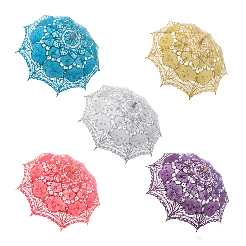TopTie Lace Umbrella Wedding Parasol Bridal Shower Decoration Photograph Costume-Purple2 by TopTie (Image #3)