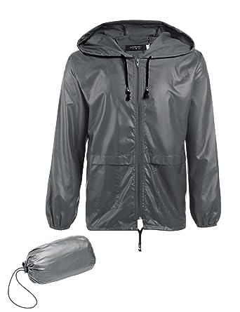4b7941ae7 JINIDU Men's Lightweight Waterproof Rain Jacket Packable Outdoor Hooded  Raincoat