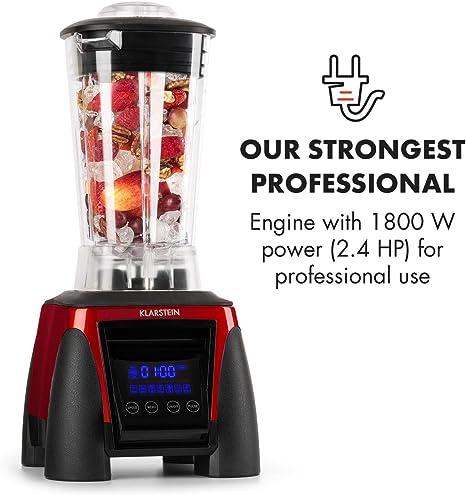 Klarstein Herakles 8G batidora licuadora de vaso (1.800 W potencia, 38.000 rpm, 50/60 Hz, 2 litros de capacidad, 6 cuchillas de acero inoxidable, pantalla LCD) - rojo: Amazon.es: Hogar