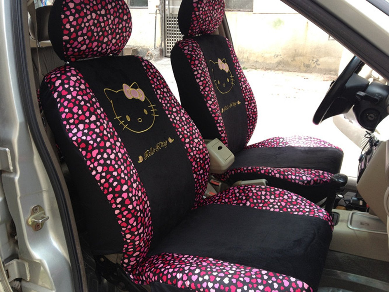 Black/Peach Bow Front Rear Car Seat Cushion Cover Black&Gold 18pcs Full Set Needlework by GH8 (Image #2)