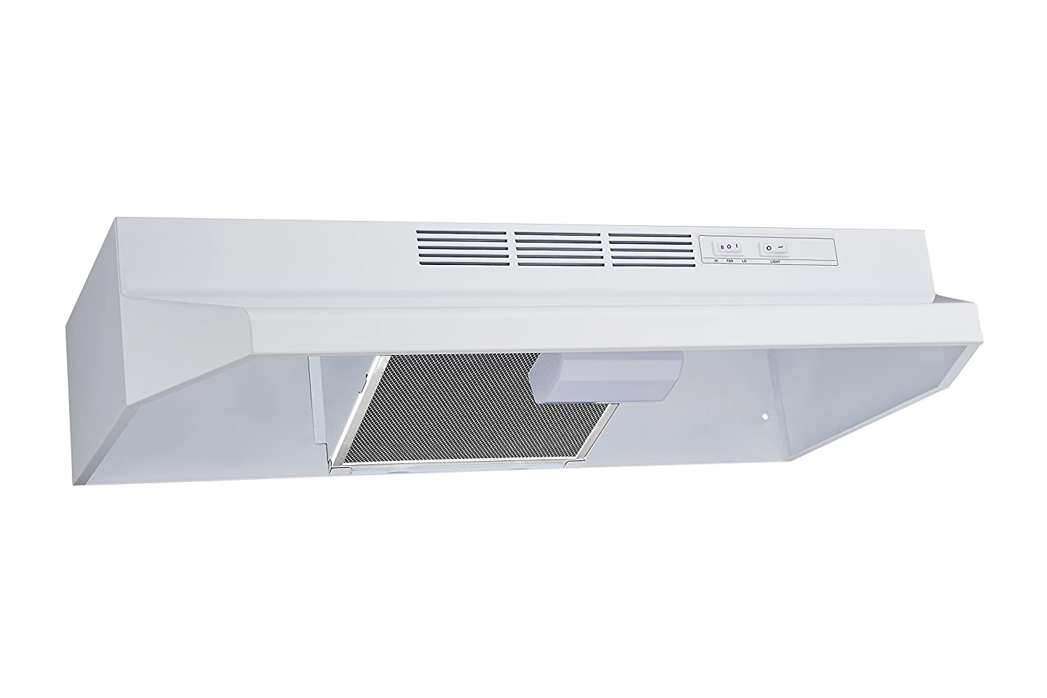 Winflo New 30 Ductless//Non-Ducted Under Cabinet Range Hood in White Color with Mesh Charcoal Filter