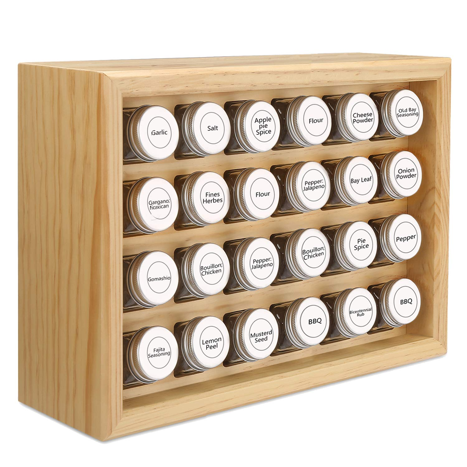100% Solid Wood Spice Rack, Includes 24 4oz Clear Glass Jars,315 Pre-Printed Labels.Fully Assembled (Beige, 24 Jar) by Welcare