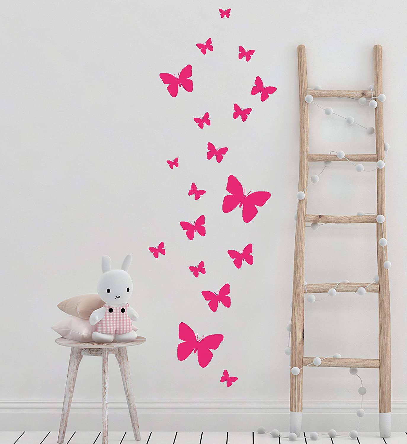 Butterfly Wall Decals for Girls Bedroom (26) Girls Room Decor Stickers of Butterflies Bedroom Wall Art Vinyl Peel & Stick Wall Stickers Birthday Party Decoration Present Teen Toddler (Hot Pink)