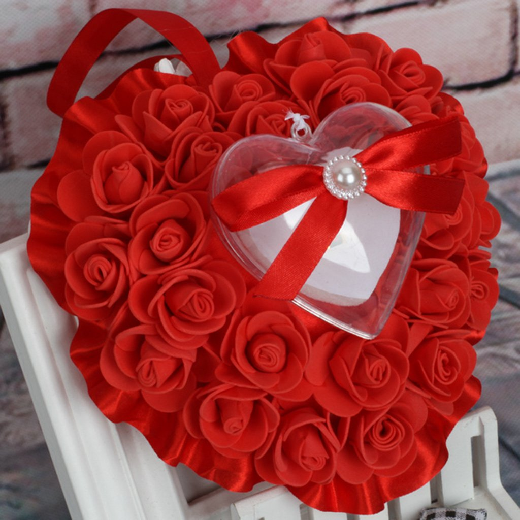 Lamdoo Bague Boîte de Stockage Coussins Taie d'oreiller Décoration Coussinets pour Mariage Bijoux Cadeaux Romantique 17x16x8cm(6.69x6.30x3.15in) Beige