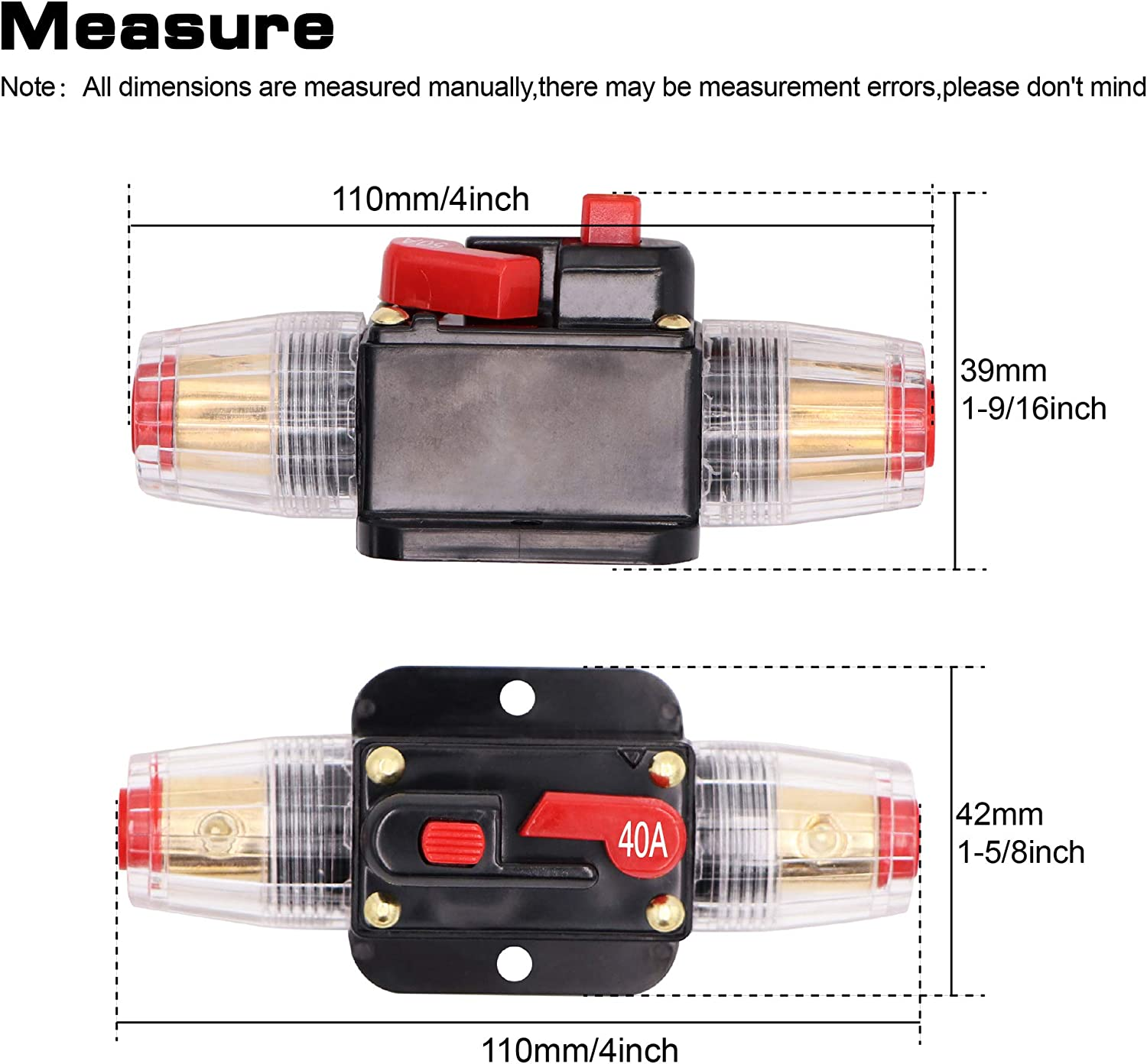 100A Audio Inline Circuit Breaker Reset Fuse 12V-24V DC Stereo Switch and Solar Inverter System PowMr Reset Fuse Holder 100 amp with Manual Reset for Car Audio