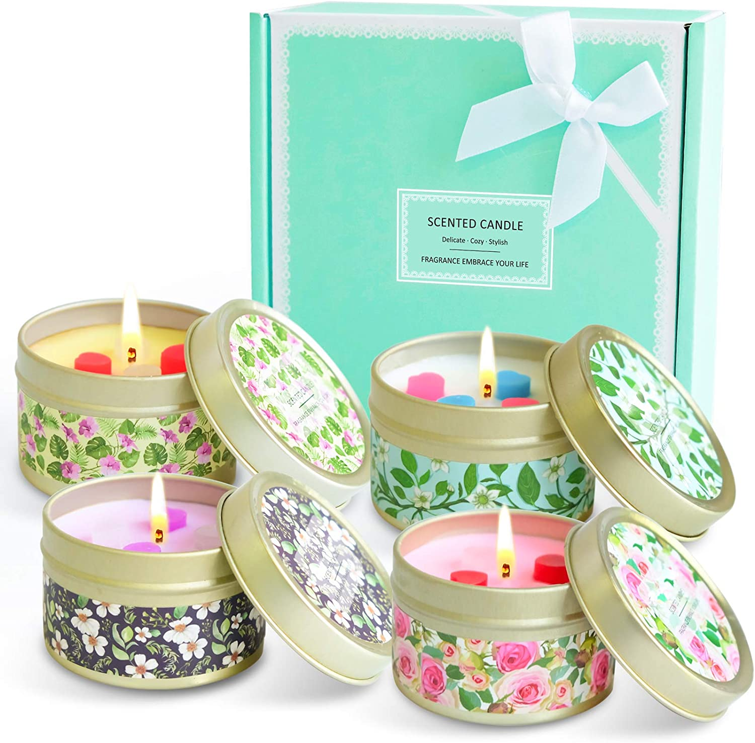 Floral Fragrance of Lavender, Jasmine, Rose and Vanilla Mothers Day LASENTEUR Scented Candles Aromatherapy Candles Natural Soy Wax Fragrance Home Fragrance Gifts for Birthday Wedding
