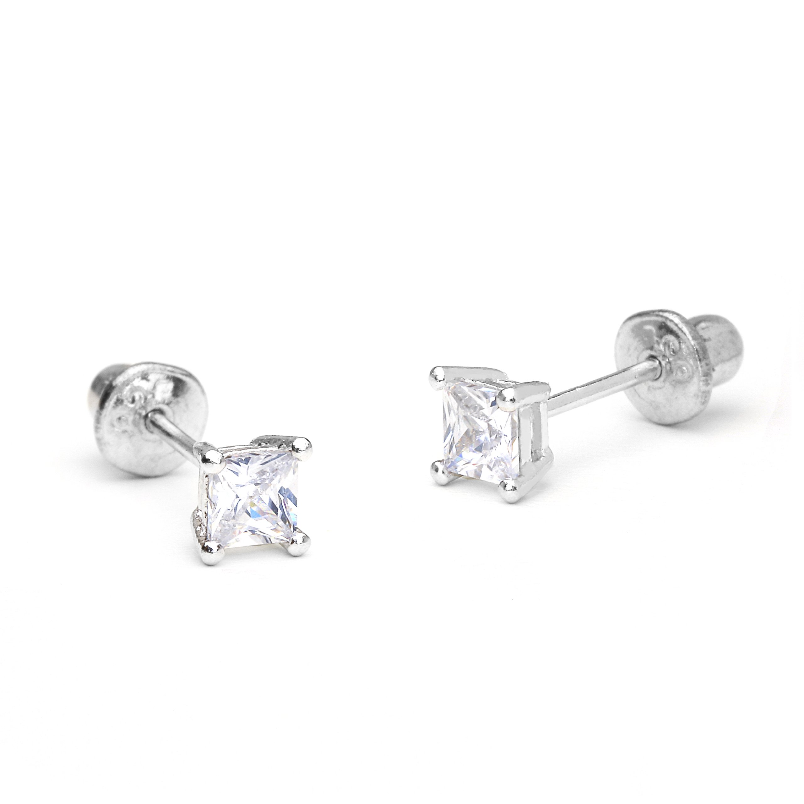925 Sterling Silver Rhodium Plated 3mm Princess Cut Cubic Zirconia Stud Screwback Baby Girls Earrings