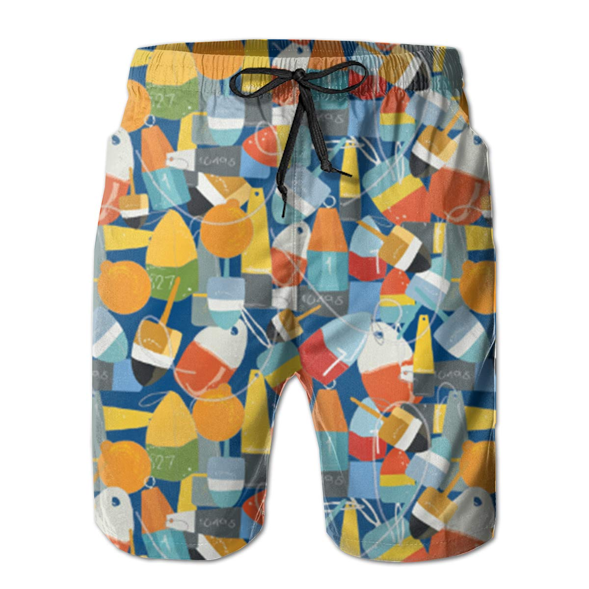 FASUWAVE Mens Swim Trunks Buoy Nautical Quick Dry Beach Board Shorts with Mesh Lining
