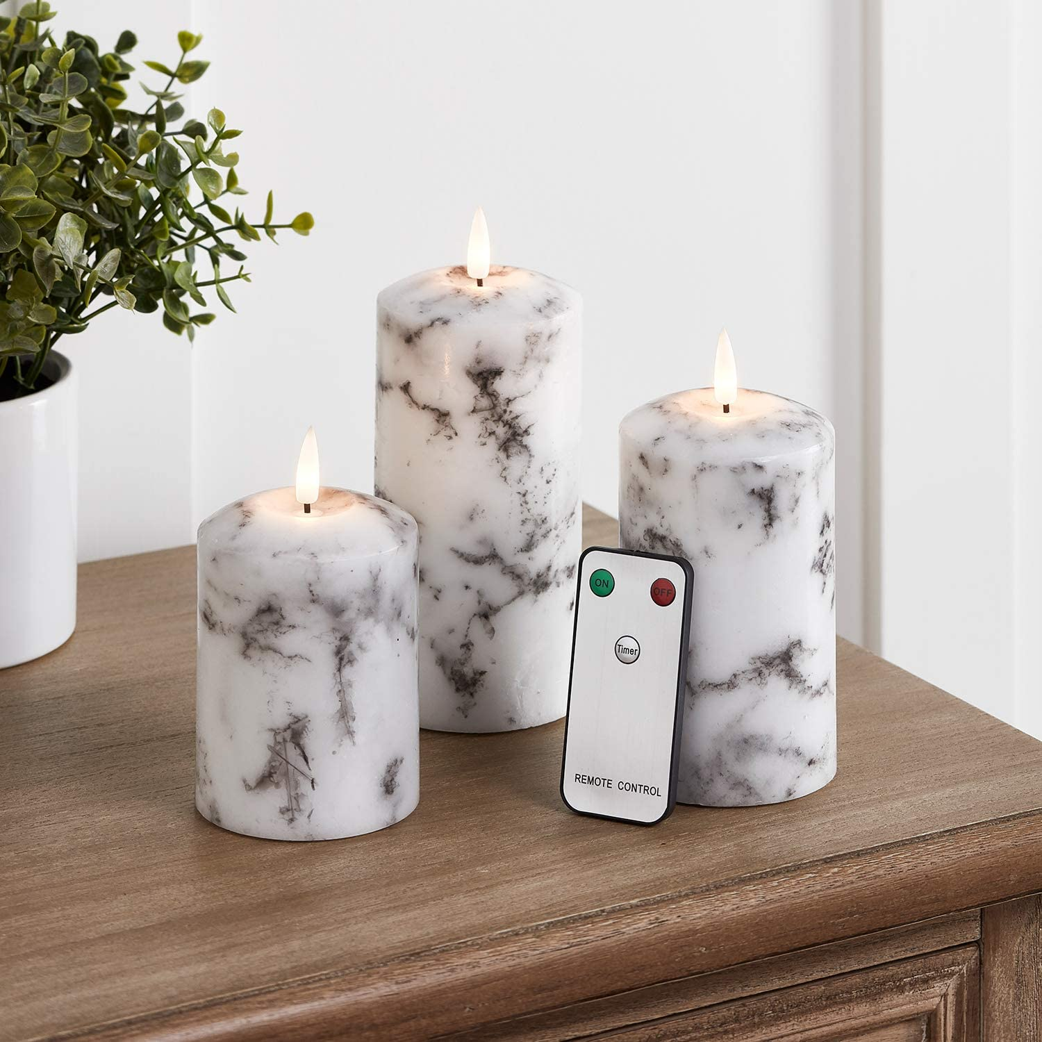 Lights4fun, Inc. Set of 3 TruGlow Marble Wax Flameless LED Battery Operated Pillar Candles with Remote Control