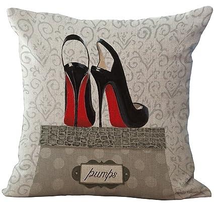 916a2ace4e8ac YJBear Fashionable Balck High Heel Shoes Print Pattern Linen Decorative  Throw Cushion Burlap Decorative Pillow Case Home Decor Office Chair Seat  Back ...