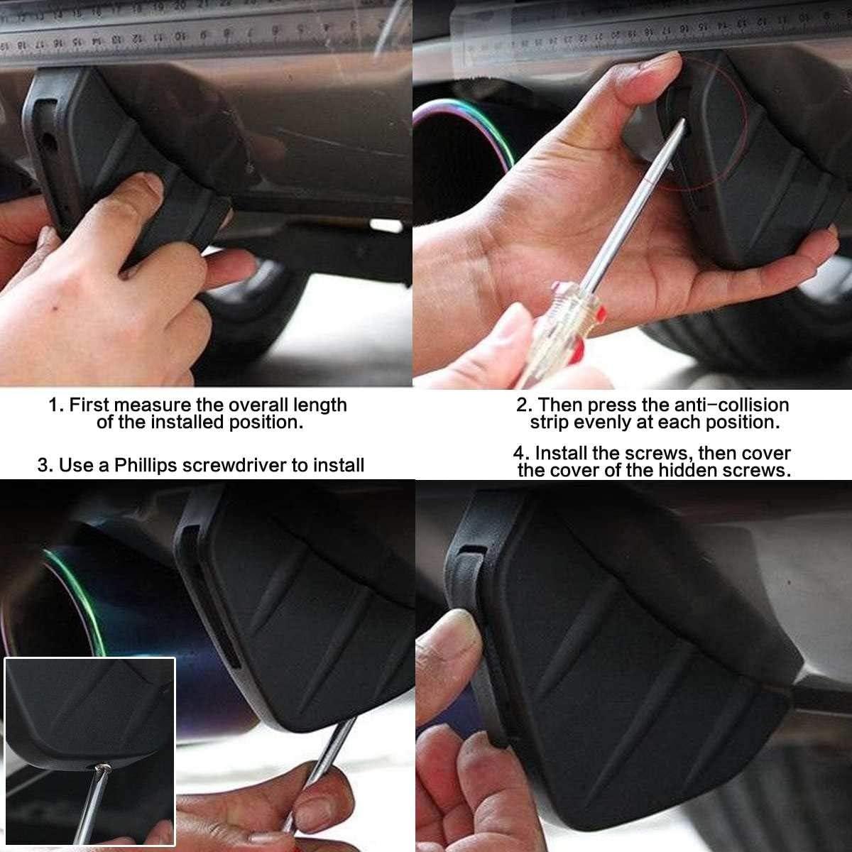 Pceewtyt 4 PZ Universal Car Paraurti Posteriore Lip Diffusore Shark Fin Style Car Back Paraurti Spoiler Lip Splitter Auto-Styling Accessori Auto