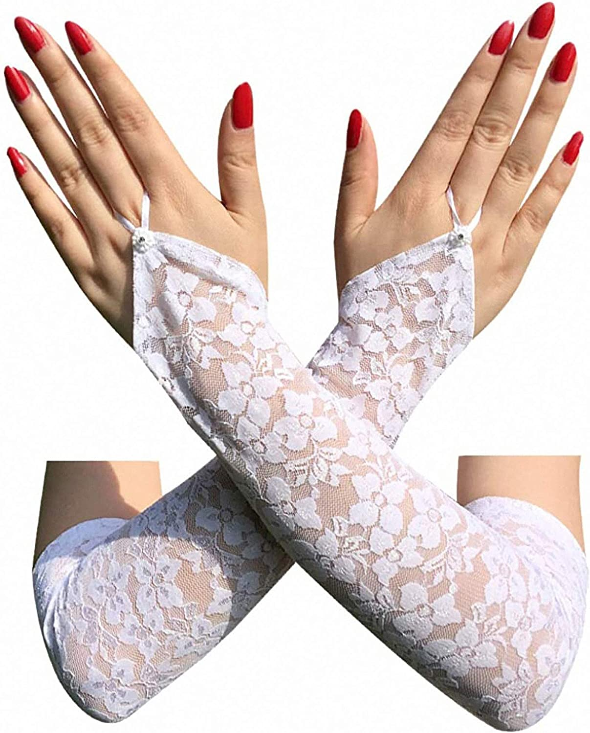 Cosplay 20s Accessories White Fingerless Lace Gloves for Women Elbow Length Long Gloves
