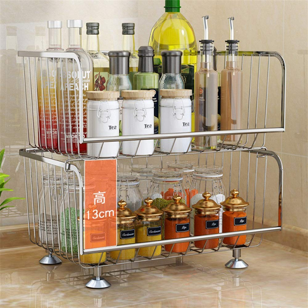 Yuybei-Home Baker's Shelf Kitchen Dish Shelf 304 Stainless Steel Vegetable and Fruit Basket Multi-Layer Floor Rack Fruit and Vegetable Storage Basket Used for Spice Rack Organization Workstation by Yuybei-Home