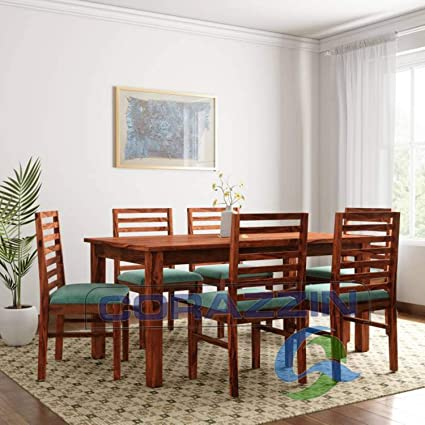 81ce8598292b Corazzin Wood Sheesham Wood Wooden Dining Set 6 Seater | Dining Table with  Chairs | Natural Honey Finish: Amazon.in: Home & Kitchen