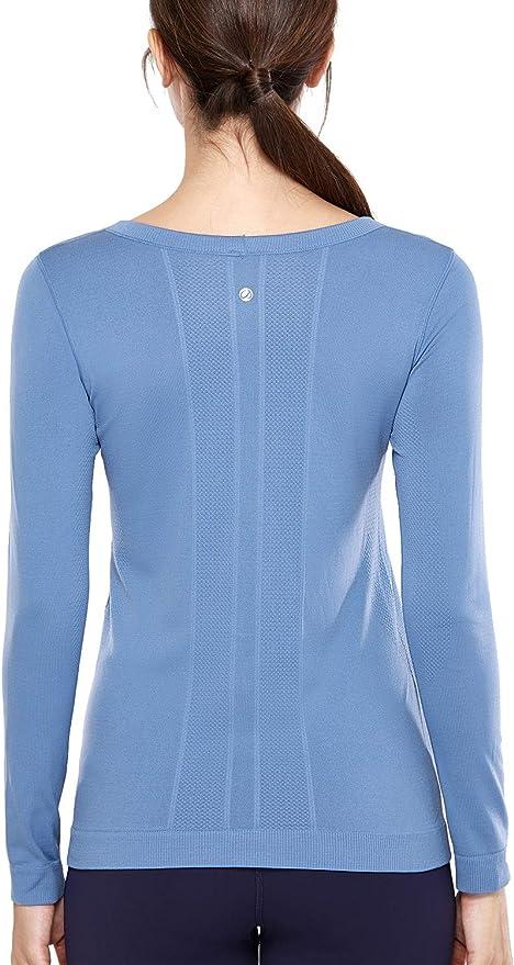 TALLA 46. CRZ YOGA Mujer Ropa Deportiva Sports Casuales Camiseta Malla sin Costura Manga Larga