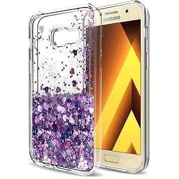 LeYi Funda Samsung Galaxy A5 2017 Silicona Purpurina Carcasa con HD Protectores de Pantalla,Transparente Cristal Bumper Telefono Gel Fundas Case Cover ...