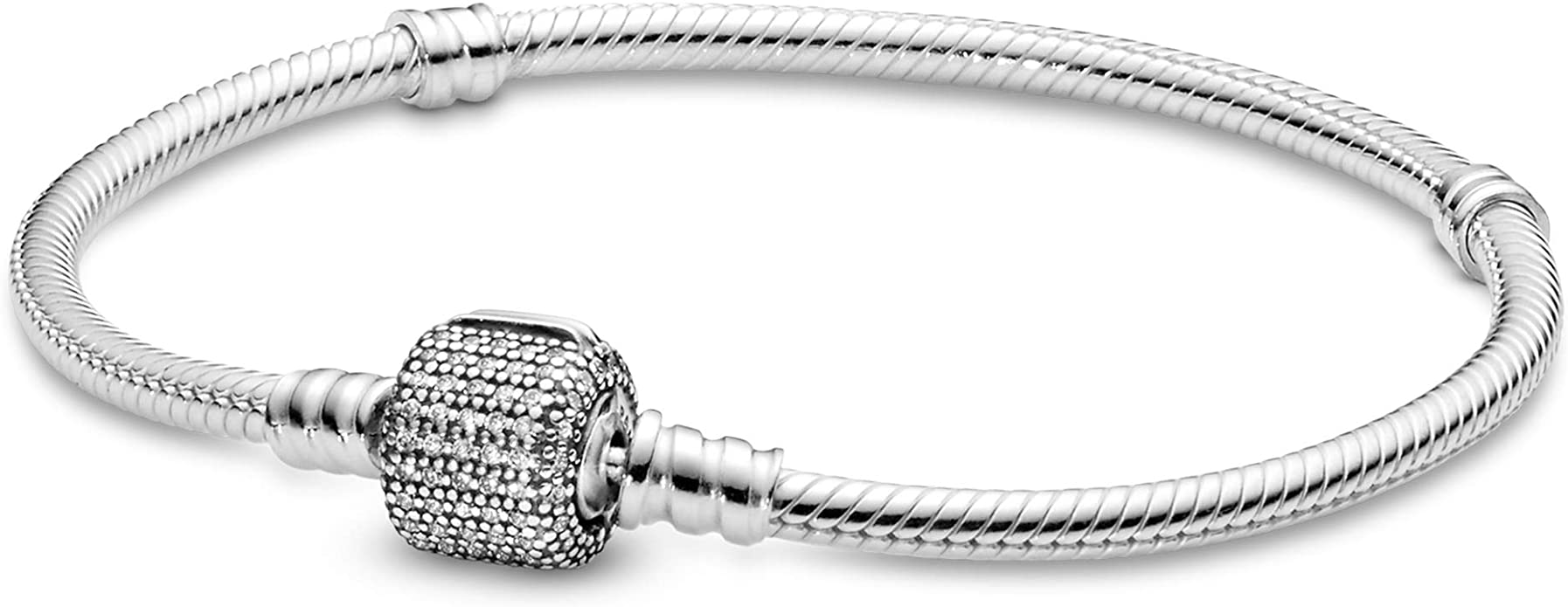 Pandora Jewelry Moments Sparkling Pave Clasp Snake Chain Cubic Zirconia  Bracelet in Sterling Silver