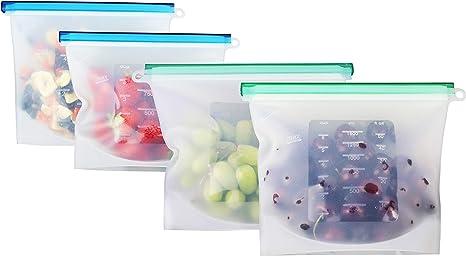 8x Reusable Silicone Food Bag Food Sealer Food Storage Bag tasteless Kitchen USA