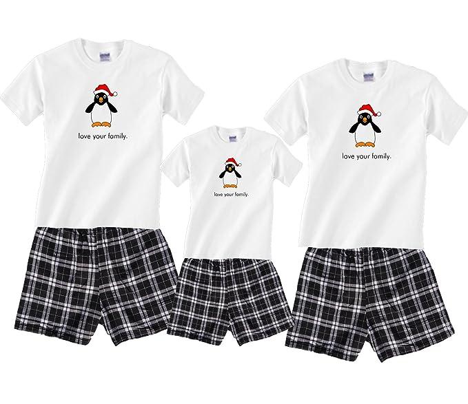 Amazon.com: Navidad Pingüino Familia de Boxer Corto Pajama ...