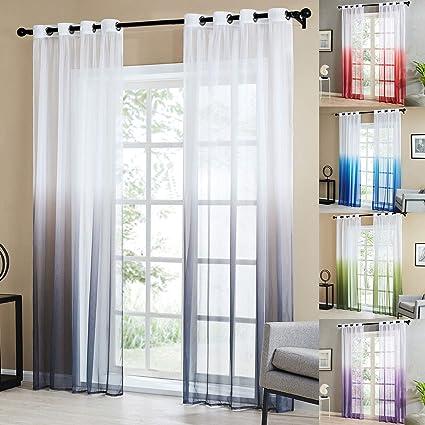 Topfinel Lot de 2 Rideaux Voilage Transparent Decoration Salon Moderne à  Oeillets Rideau Chambre Cuisine de Couleur Dégradé Gris, 140x240cm