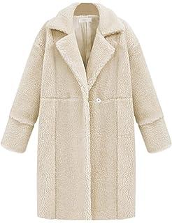 9533884ab1d8 Bestfort Mantel Damen Elegant Wintermantel Warm Gefüttert Revers Lange  Ärmel Wollmantel Übergangsmantel Herbst Winter