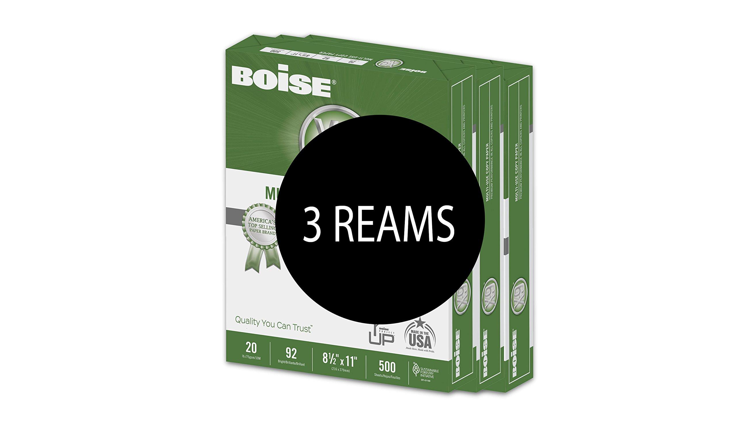 BOISE X-9 Multi-Use Copy Paper, 8.5 x 11, 92 Bright White, 20 lb, 3 ream carton (1,500 Sheets) by Boise Paper (Image #2)