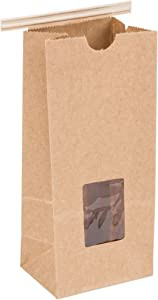 Resealable Kraft Tin Tie Poly-Lined Bags Coffee Bags Reclosable Tin Tie Bags with Window - 1/2 Lb - 50 Pack