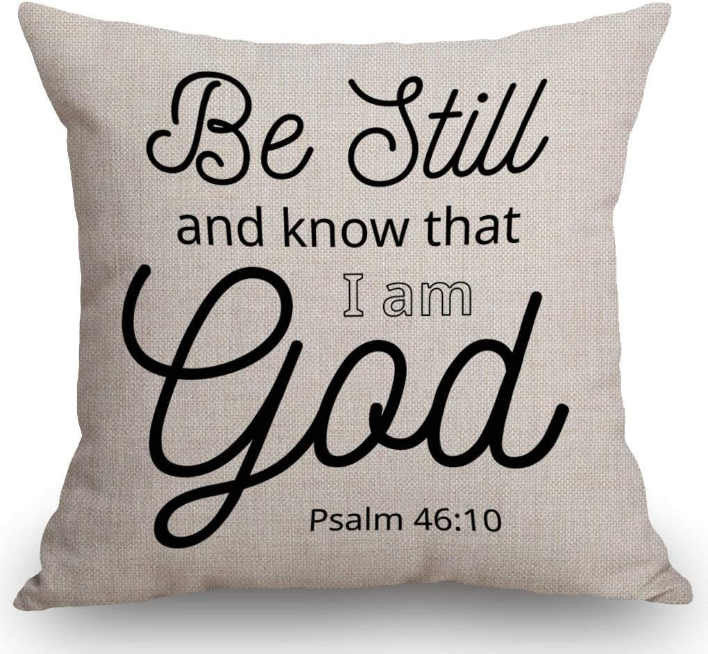 SSOIU Be Still and Know That I am God Psalm 46:10 Throw Pillow Cover Art Religious Home Decor Quote Bible Scripture Cushion Cover Cotton Linen 18 x 18 Inch