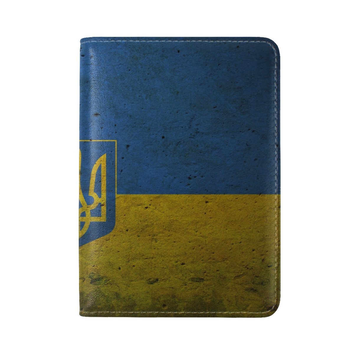 Flag Coat Of Arms Ukraine Paint Leather Passport Holder Cover Case Travel One Pocket