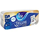 Fine, Toilet Paper, Deluxe, 150 sheets x3 Ply, pack of 12 rolls