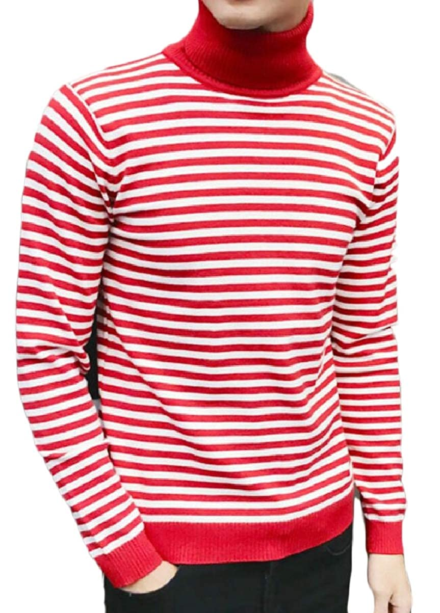 CBTLVSN Mens Stretchy Stripe Slim Knitting High Neck Leisure Pullover Sweaters