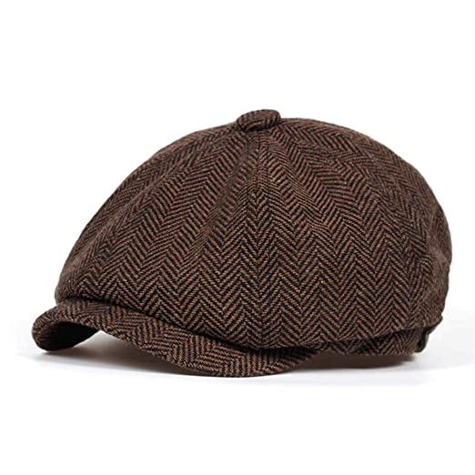 1762dafb462 Fashion Herringbone Tweed Gatsby Newsboy Cap Men Wool Ivy Hat Golf Driving  Flat Cabbie Flat Unisex Berets Hat at Amazon Men s Clothing store