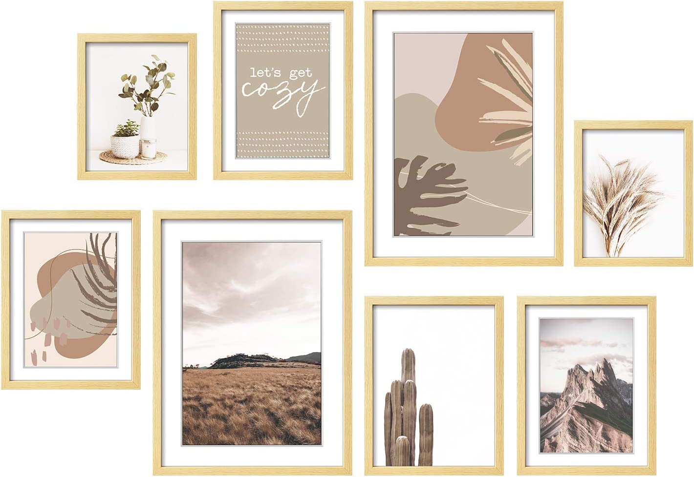 "ArtbyHannah 8 Pack Gallery Wall Kit Decorative Art Prints Picture Frame Collage Wall Art Decor & Hanging Template Picture Frame Set for Home Decoration,Multi Size 12"" x 16"",8"" x 10"",6"" x 8"""